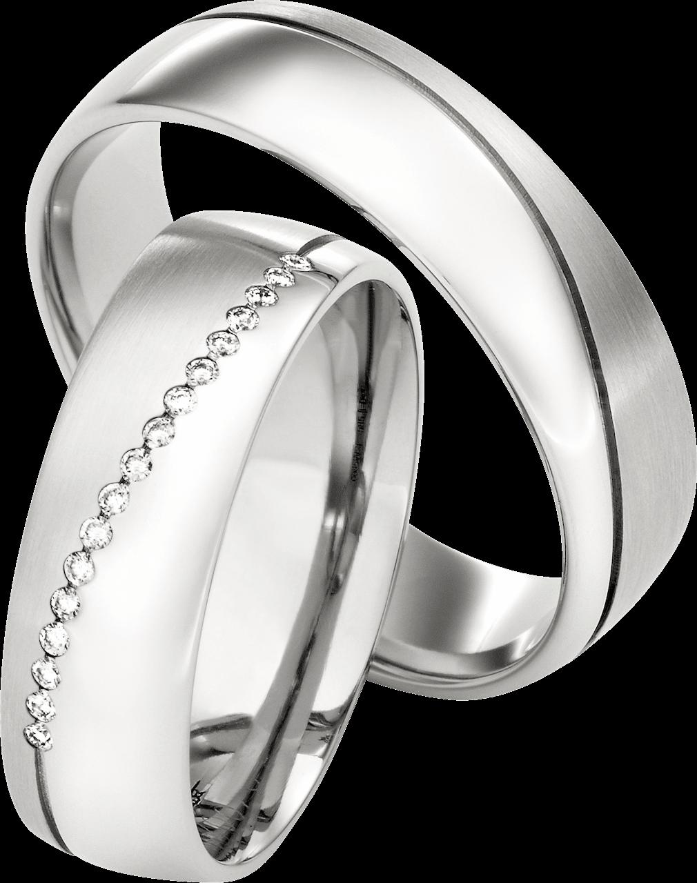 Silber Ringpaar mit Diagonal Kerbe
