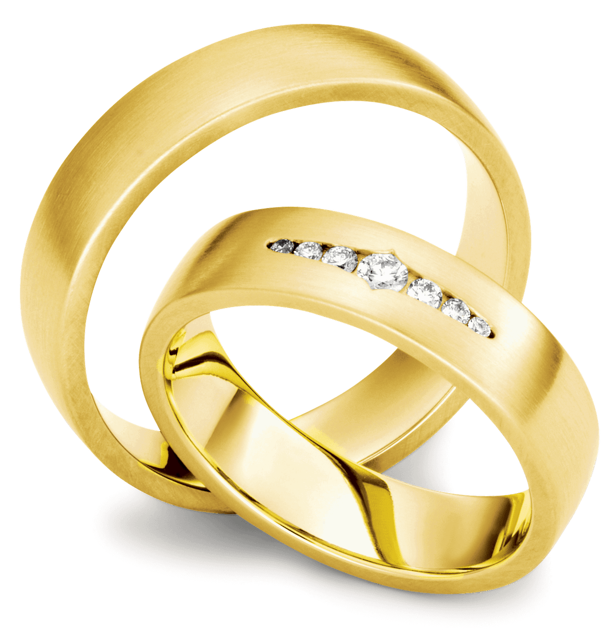 Gelbgold Ringpaar mit Diamanten